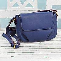 Leather sling bag, 'Modern Elegance in Indigo' - Handcrafted Indigo Leather Sling Bag from India