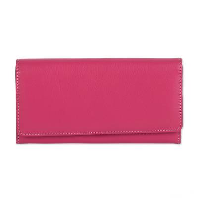 Hand Crafted Strawberry Nappa Leather Wallet from India