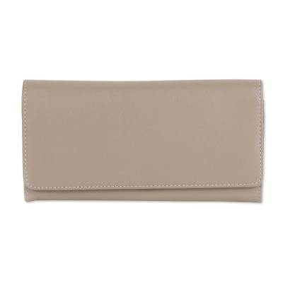 Hand Crafted Taupe Nappa Leather Wallet from India