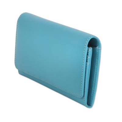 Hand Crafted Caribbean Blue Nappa Leather Wallet from India
