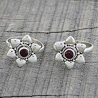 Garnet Toe Rings Floral Gleam (pair) (india)