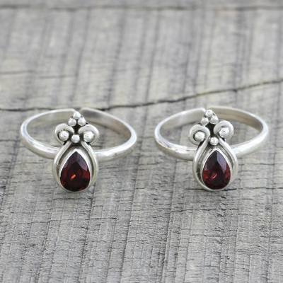 Garnet toe rings, 'Scarlet Drops' (pair) - Pair of Teardrop Garnet and 925 Silver Toe Rings from India