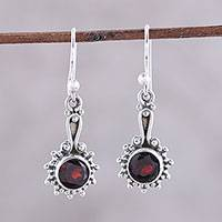 Garnet dangle earrings, 'Cherry Dots' - Garnet and Sterling Silver Dangle Earrings from India