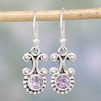 Amethyst dangle earrings, 'Wisteria Mist' - Amethyst and Sterling Silver Dangle Earrings from India