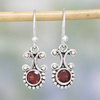 Garnet dangle earrings, 'Sunset Mist' - Garnet and sterling Silver Dangle Earrings from India