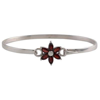 Garnet and Sterling Silver Floral Bracelet from India