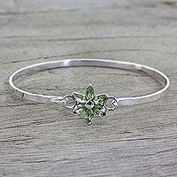 Peridot pendant bracelet, 'Marquise Flower' - Peridot and Sterling Silver Floral Bracelet from India