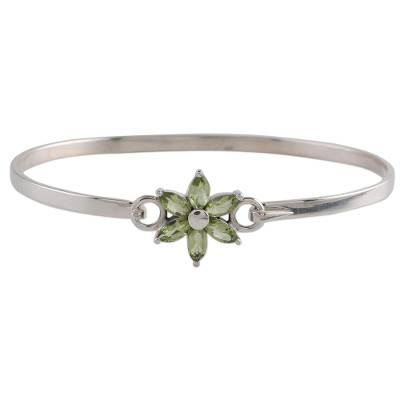 Peridot and Sterling Silver Floral Bracelet from India