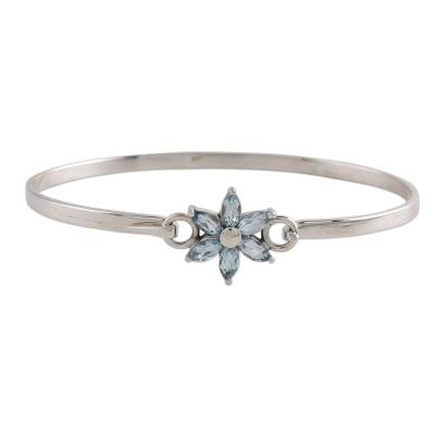 Blue Topaz and Sterling Silver Floral Bracelet from India