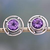 Amethyst Stud Earrings Purple Wheels (india)