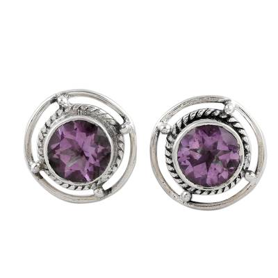 Amethyst and Sterling Silver Stud Earrings from India