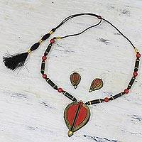 Terracotta jewelry set, 'Bold Passion' - Handcrafted Red and Black Terracotta Jewelry Set from India