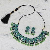 Terracotta jewelry set, 'Festive Celebration' - Traditional Indian Ceramic Statement Necklace and Earrings