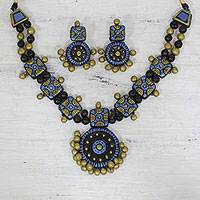 Terracotta jewelry set, 'Bikaner Delight' - Blue and Black Terracotta Statement Necklace and Earring Set
