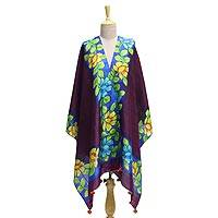 Silk shawl, 'Flower Home' - Silk Shawl in Mulberry with Hand-Painted Floral Motifs