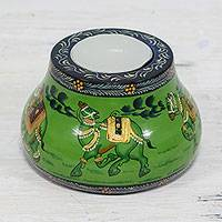 Wood tealight holder, 'Animal Journey in Green' - Kadam Wood Animal-Themed Green Tealight Holder from India