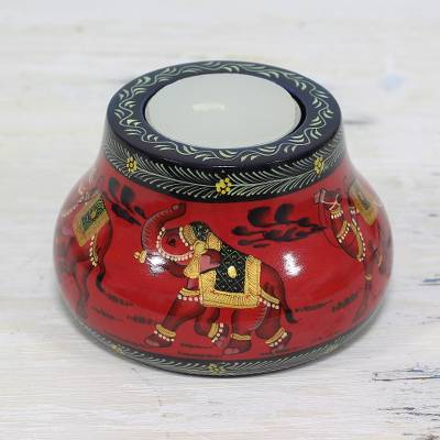 Wood tealight holder, 'Animal Journey in Red' - Kadam Wood Animal-Themed Red Tealight Holder from India