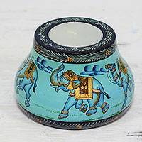 Wood tealight holder, 'Animal Journey in Blue' - Kadam Wood Animal-Themed Blue Tealight Holder from India