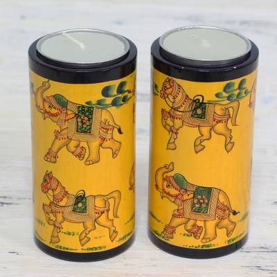 Wood tealight holders, 'Animal Parade' (pair) - Pair of Yellow Animal-Themed Tealight Holders from India