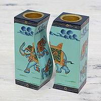 Wood candle holders, 'Royal Miniature in Blue' (pair) - Pair of Blue Wood Elephant Candle Holders from India