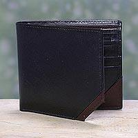 Men's leather wallet, 'Diagonal Black' - Handcrafted Black Men's Leather Wallet with Brown Trim