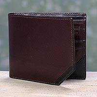 Men's leather wallet, 'Diagonal Two-Tone' - Handcrafted Brown Men's Leather Wallet with Black Trim