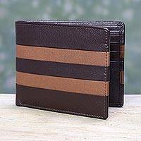 Men's leather wallet, 'Espresso Pride' - Espresso Brown and Tan Men's Leather Wallet
