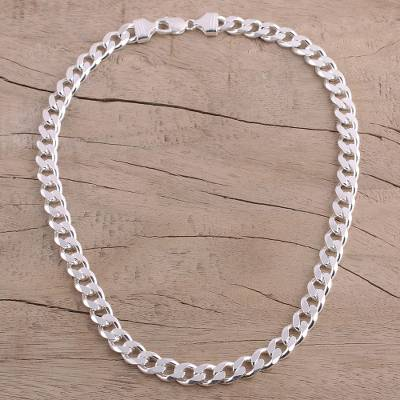 Mens sterling silver chain necklace, Debonair