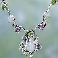 Multi-gemstone pendant necklace, 'Luminous Beauty' - Sterling Silver and Multigem Pendant Necklace from India