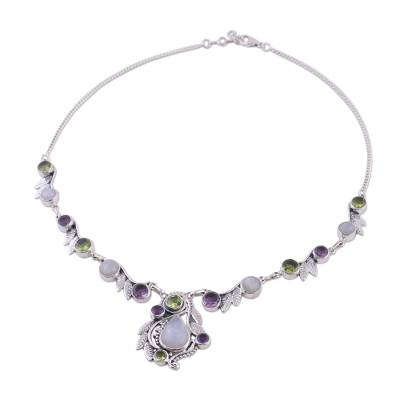Sterling Silver and Multigem Pendant Necklace from India