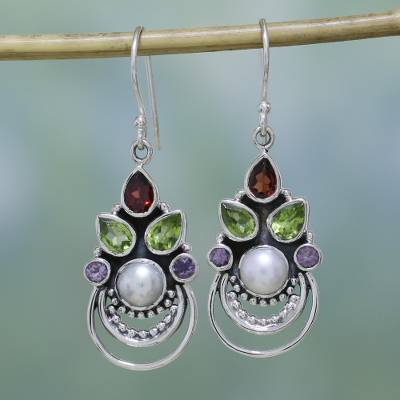 Multi-gemstone dangle earrings, 'Crowned Glory' - Cultured Pearl and Multigem Dangle Earrings from India