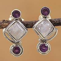 Rainbow moonstone and amethyst drop earrings, 'Lilac Spell' - Rainbow Moonstone and Amethyst Drop Earrings from India