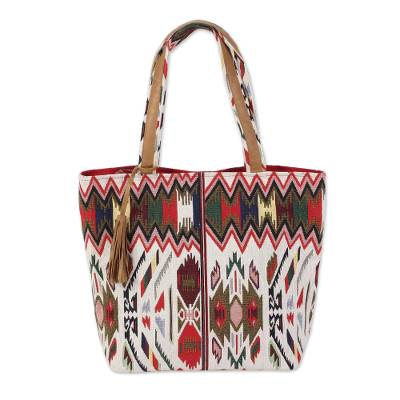 Cotton Canvas and Leather Accent Geometric Tote Handbag