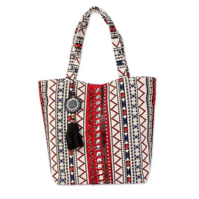 Embellished Screen Printed Cotton Tote Bag from India