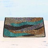 Beaded clutch, 'Evening Waves' - Multicolored Beaded Clutch Handbag from India