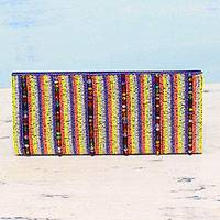 Beaded clutch, 'Fashion Stripes' - Multicolored Striped Beaded Clutch Handbag from India