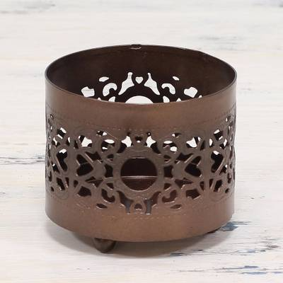 Copper tealight holder, 'Jali Glow' - Artisan Made Copper Tealight Holder from India