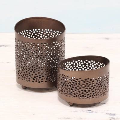 Copper tealight candle holders, 'Harmoniously' (pair) - Handcrafted Copper Tealight Candle Holders from India (Pair)