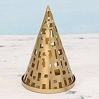 Steel tealight holder, 'Glowing Cone' - Handcrafted Cone-Shaped Metal Tealight Holder from India