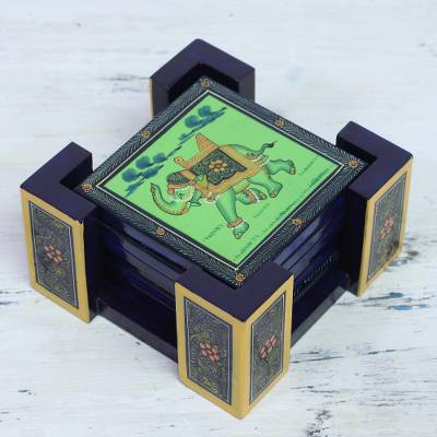 Wood coasters, 'Gajraj March in Green' (set of 6) - Six Hand-Painted Wood Elephant Coasters in Green from India