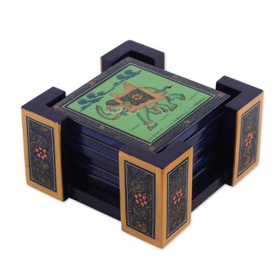 Six Hand-Painted Wood Elephant Coasters in Green from India