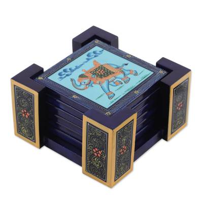 Six Hand-Painted Wood Elephant Coasters in Blue from India