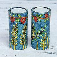 Wood tealight holders, 'Canopy Beauty' (pair) - Two Nature-Themed Wood Tealight Holders from India