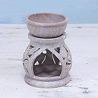 Soapstone oil warmer, 'Garden of Leaves' - Handcrafted Leaf Motif Soapstone Oil Warmer from India