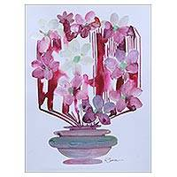 'Flower Chase' - Original Signed Expressionist Still Life with Pink Flowers