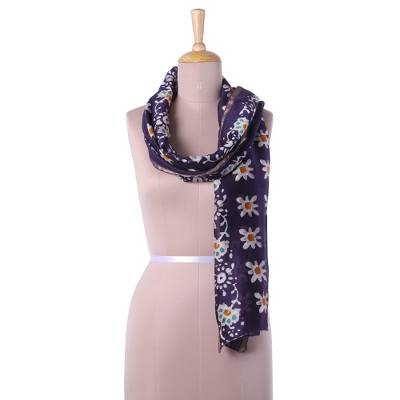 Batik cotton blend scarf, 'Sublime Floral' - Cotton Blend Batik Floral Scarf in Blue-Violet from India
