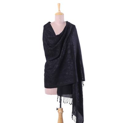 Wool shawl, 'Ebony Bliss' - Floral Rayon Embroidered Wool Shawl in Ebony from India