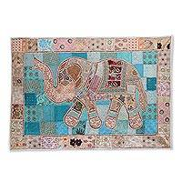 Patchwork wall hanging, 'Kaleidoscopic Elephant' - Multicolored Patchwork Elephant Wall Hanging from India