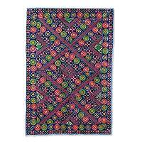 Recycled patchwork wall hanging, 'Vibrant Bouquet' - Floral Geometric Recycled Patchwork Wall Hanging from India