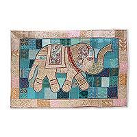 Patchwork wall hanging, 'Aristocratic Elephant' - Colorful Patchwork Elephant Wall Hanging from India